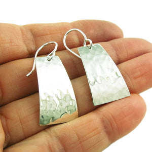 Hammered Drop 925 Sterling Silver Earrings in a Gift Box