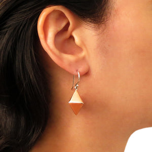 925 Silver and Copper Three-Dimensional Rhombus Drop Earrings