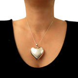 Large 925 Sterling Silver Hallmarked Love Heart Pendant