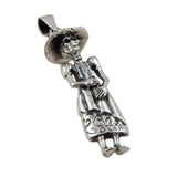 Mexican Day of the Dead 925 Sterling Silver Catrina Skeleton Pendant