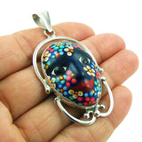 Large 925 Silver and Mexican Talavera Blue Painted Face Pendant