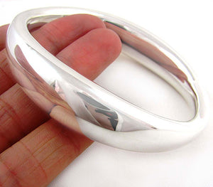 Heavy HM Hallmarked Solid Sterling 925 Silver Oval Bangle