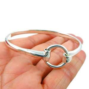 Horsebit Snaffle 925 Sterling Silver Bangle HM Hallmarked