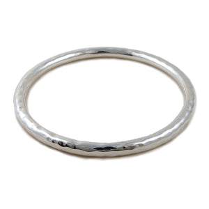 Large 925 Sterling Silver Hammered Circle Bangle