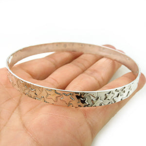 Large Hallmarked Sterling 925 Silver Celestial Star Bangle