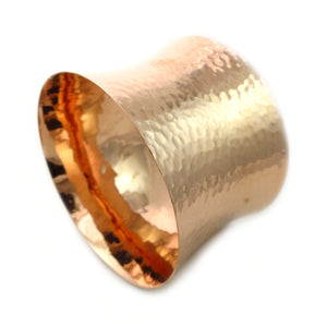 Large Solid Hammered Copper Wide Bangle