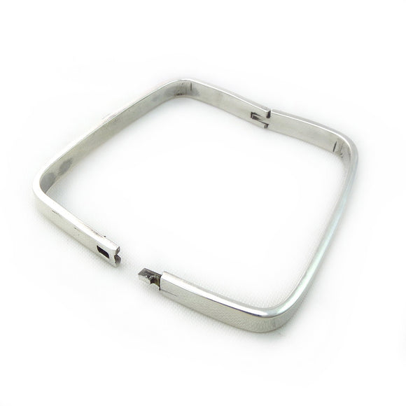 Modernist 925 Sterling Silver Square Bangle Cuff