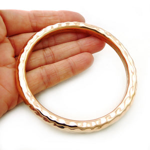 Large Solid Hammered Copper Circle Bangle