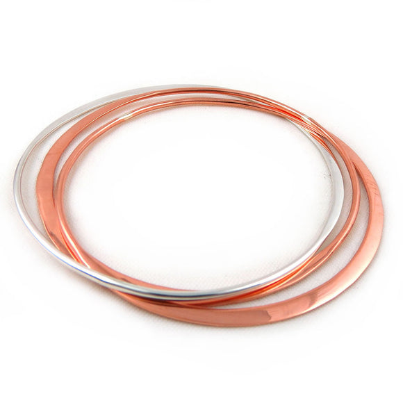 Solid Polished Copper and 925 Silver Triple Hoop Bangle in a Gift Box