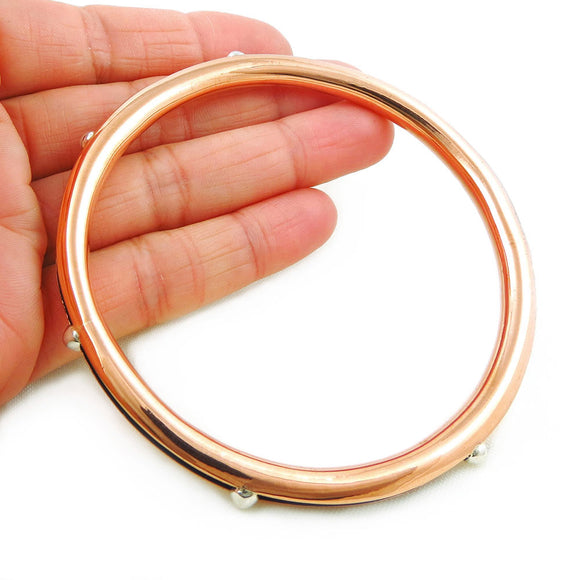 Large Polished Copper and Silver Modernist Tube Bangle