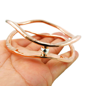 Large Copper and Silver Bead Infinity Bangle in a Gift Box