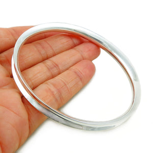 Curved Bangle 925 Sterling Silver UK Hallmarked