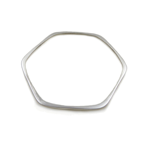 Hexagonal Bangle 925 Sterling Silver Modernist Design