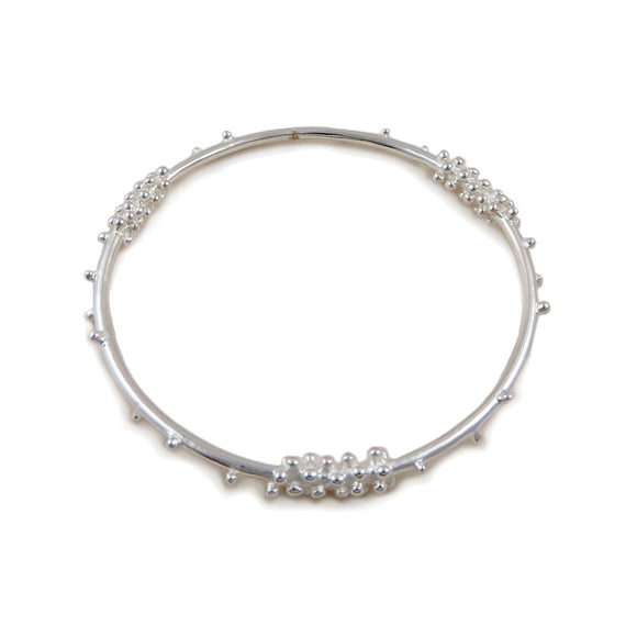 Designer 925 Sterling Silver Cluster Bangle in a Gift Box