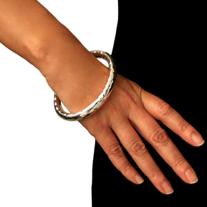 Large 925 Sterling Silver Hammered Oval Bangle