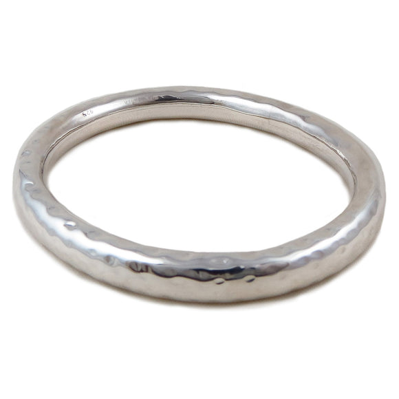Large Hallmarked 925 Sterling Silver Hammered Bangle