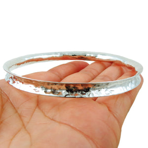 Large 925 Sterling Silver Curved Edge Hammered Bangle
