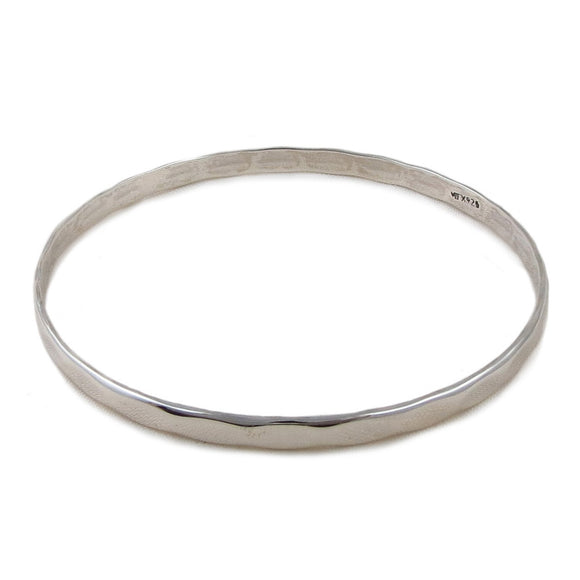 Large Hallmarked Bangle 925 Sterling Silver Flat Edge Circle