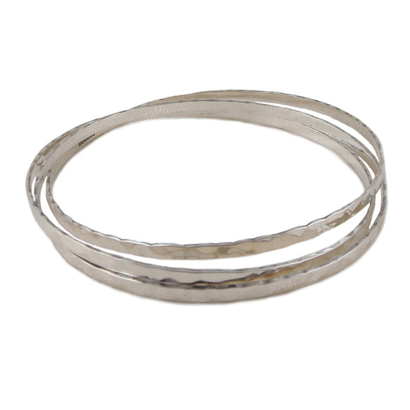 Hallmarked Sterling 925 Silver 3 in 1 Multi Circle Bangle in a Gift Box