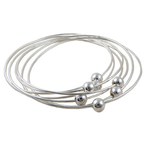 Large Sterling 925 Silver Ball Bead Stacker Bangle