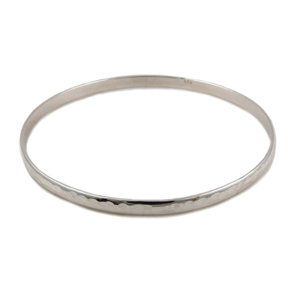 Large Hallmarked Solid 925 Hammered Sterling Silver Circle Bangle