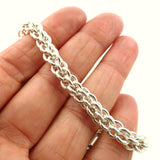 HM Hallmarked Sterling 925 Silver Heavy Chain and Heart Bracelet