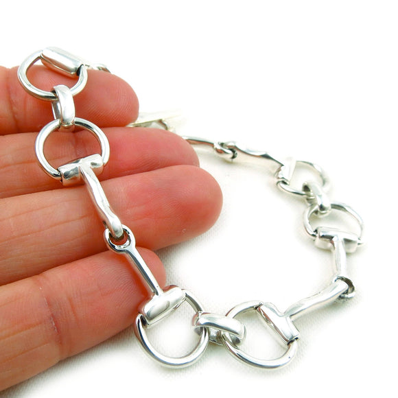 Horse Snaffle Bit 925 Sterling Silver Riding Tack Bracelet in a Gift Box 19gms