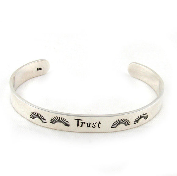 Sterling 925 Silver Inscribed Trust Bracelet Cuff