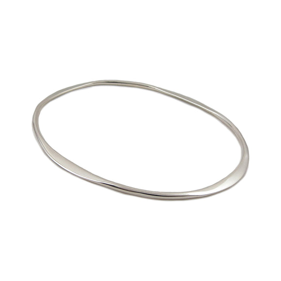 Stylish Solid Sterling 925 Silver Oval Bangle in a Gift Box