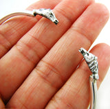 Large Solid 925 Silver Horse Head Bracelet Cuff