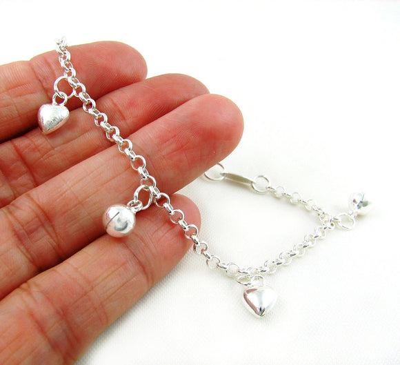 925 Silver Chime Heart & Ball Bead Charms Bracelet