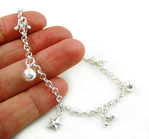925 Silver Chime Star and Ball Beads Bracelet