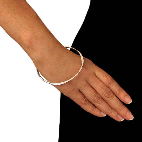 Solid Sterling 925 Silver Polished and Hammered Bangle in a Gift Box