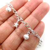 Pretty 925 Silver Celestial Star and Ball Bead Chime Charms Bracelet