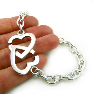Solid HM Hallmarked Sterling 925 Silver Double Heart Chain Bracelet