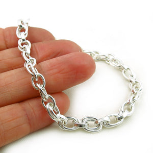 Solid Hallmarked Sterling 925 Silver Double Link Chain Bracelet Gift Boxed