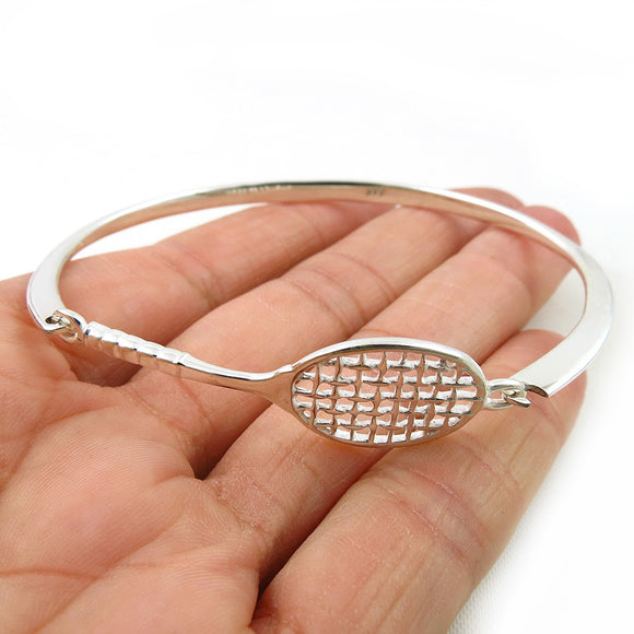Fitted Solid Sterling 925 Silver Tennis Racket Bracelet Cuff Jewellery