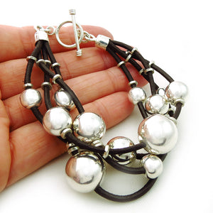 HM Hallmarked Sterling 925 Silver Ball Beads and Brown Leather Bracelet