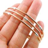 Solid Polished Copper and 925 Silver Triple Band Bracelet Cuff