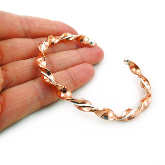 Solid Twisted Copper and 925 Silver Hand-wrought Bracelet Cuff