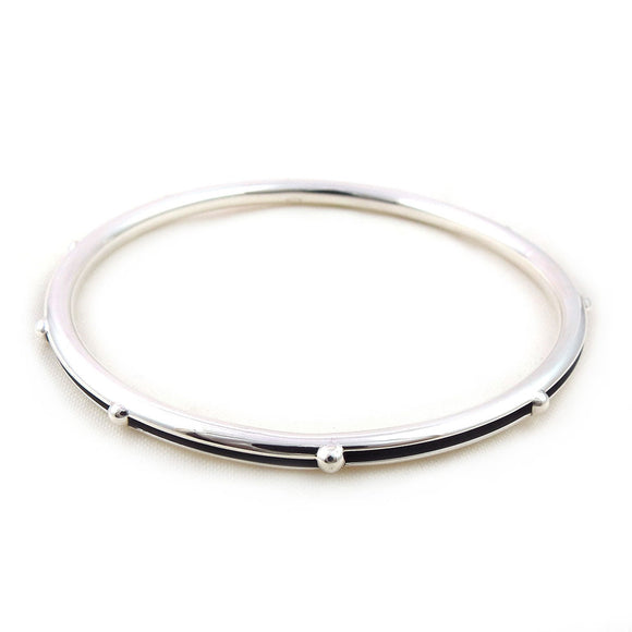 925 Silver Ball Bead Split Tube Bangle