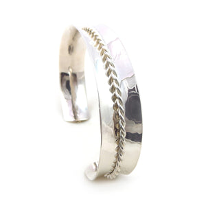925 Sterling Band and Rope Bracelet Taxco Silver Cuff