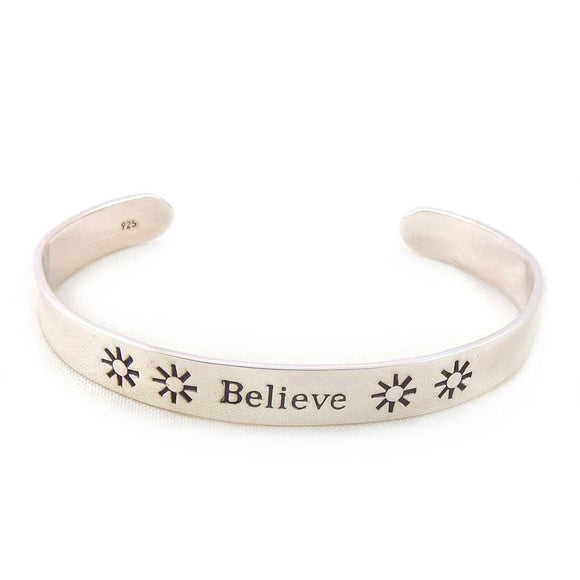 Solid Sterling 925 Silver Inscribed Inspirational Believe Bracelet Cuff