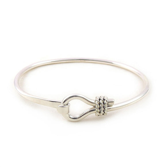 Solid 925 Silver Front Hook Loop and Rope Bracelet