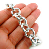 Hallmarked 925 Sterling Silver Circle Link Chain Bracelet Gift Boxed