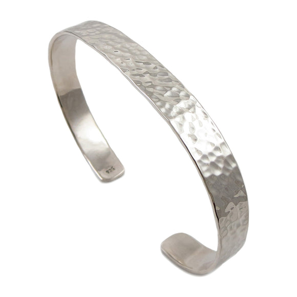 Solid 925 Sterling Silver Cuff Hammered Bracelet Cuff in a Gift Box