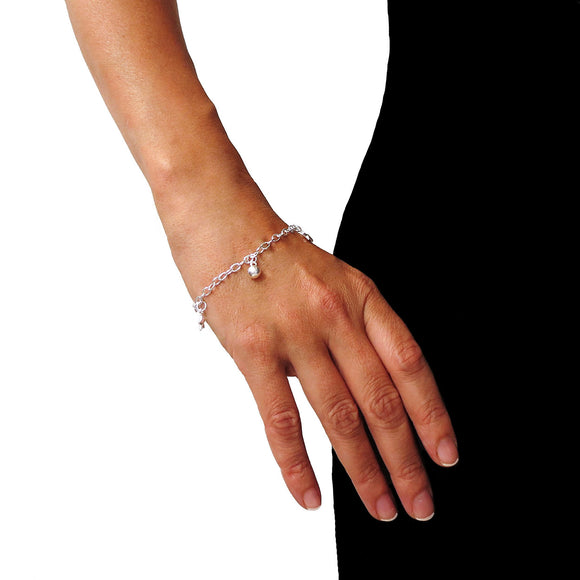 Solid 925 Silver Star and Ball Beads Chime Chain Bracelet in a gift Box