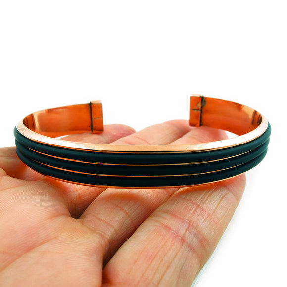 Modernist Solid Copper and Black Rubber Bracelet Cuff