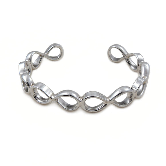 Sterling 925 Silver Infinity Figure of Eight Bracelet Cuff Guft Boxed