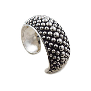 Wide Cuff Solid 925 Sterling Silver Ball Bracelet Gift Boxed